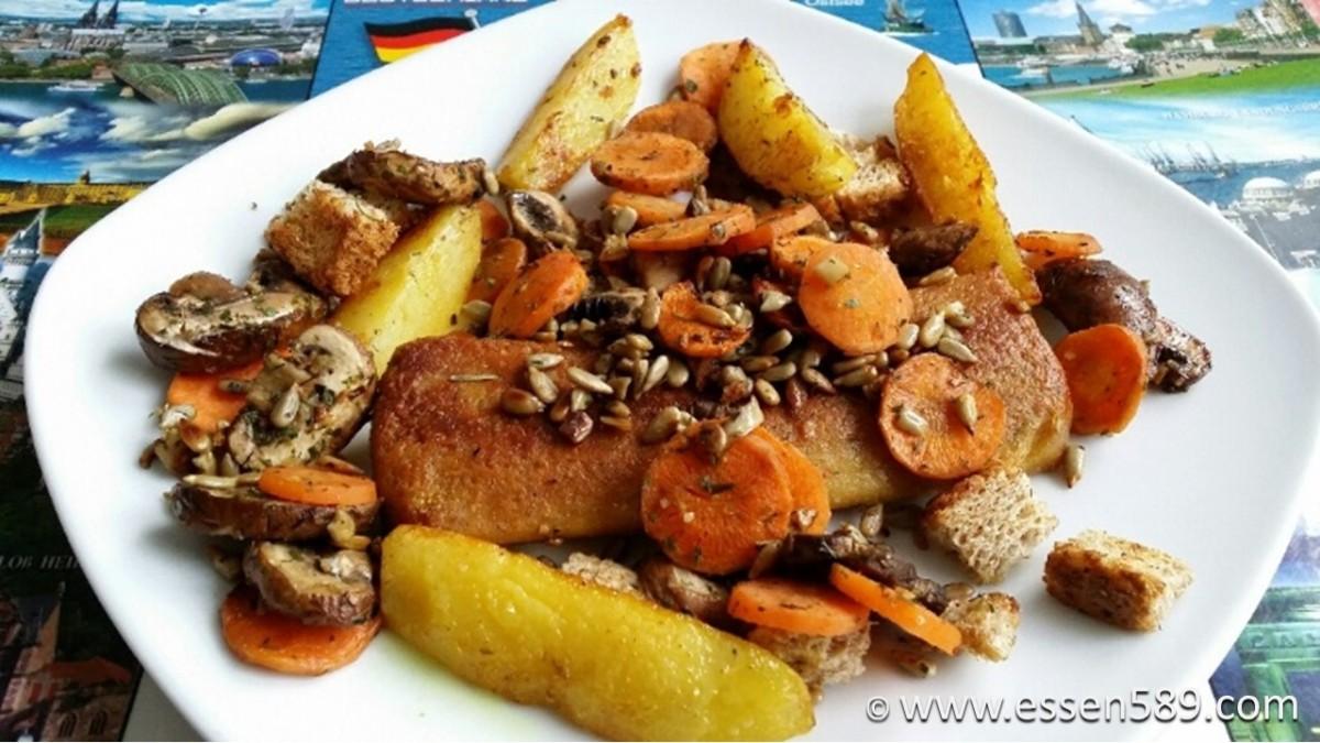 Süßlupinen-Filet mit Gemüse und Bratkartoffeln