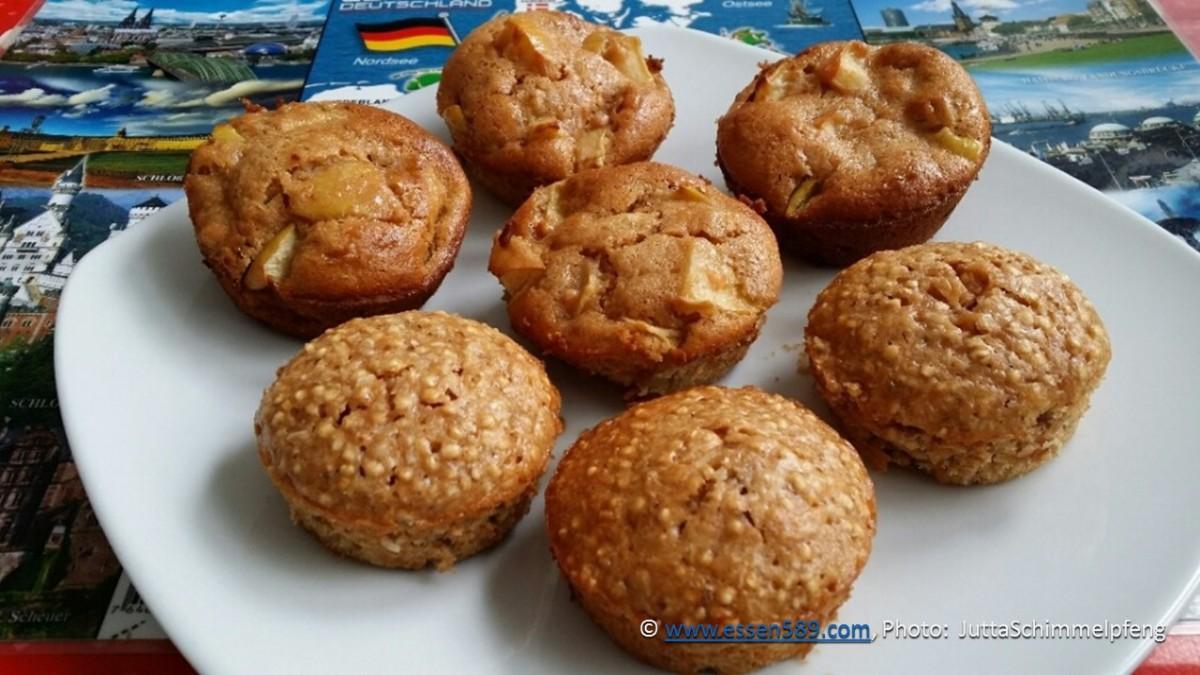 Rote Linsen Muffins mit Apfelstücken oder Quinoa und Zimt