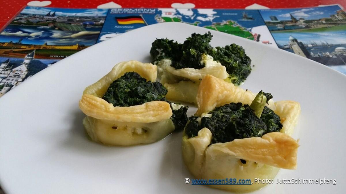 Blätterteig mit Broccoli, Spinat und Feta