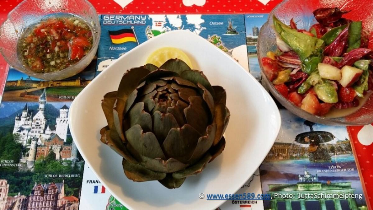 Fotodokumentation: Artischocken kochen und essen