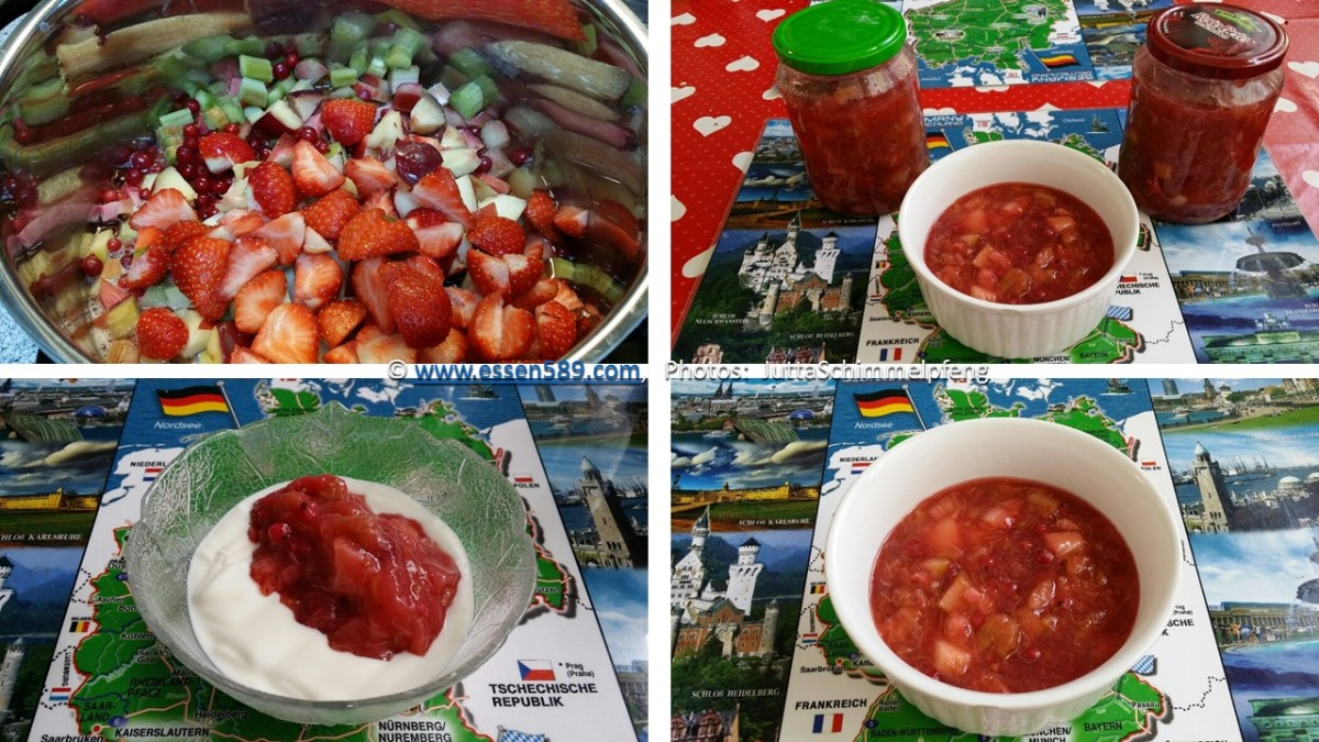 Obst-Grütze aus Rhabarber, Johannisbeeren, Nektarinen und Erdbeeren