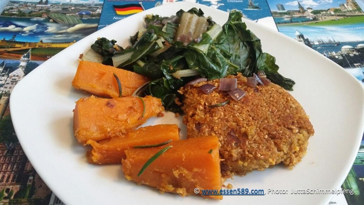 Lupinen-Grünkernpuffer mit Süßkartoffel und Mangold